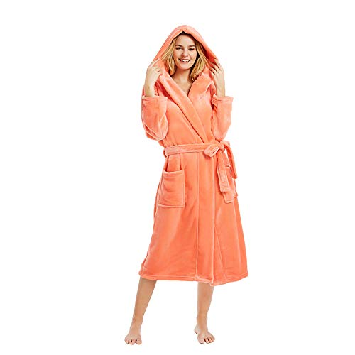 M&M Mymoon Womens Hooded Fleece Robe, Soft Plush Bathrobe for Womens, Fluffy Cute Long House Coat