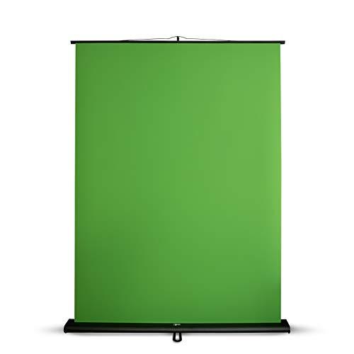 Green Screen Hintergrund 150x200 cm | Chromakey Grün zum perfekten Composing | ideal für Streaming, Twitch und Youtube | ausfahrbares Rollup für schnellen Aufbau