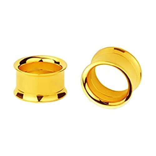 QWERBAM 1 par 2-30mm Doble Flare Gauge Gauge Plug Tornillo de Acero Inoxidable Ajuste de la Carne Tunnel Plug Ear Gauge Stronger Expander Dilataciones (Main Stone Color : 30mm, Metal Color : Gold)