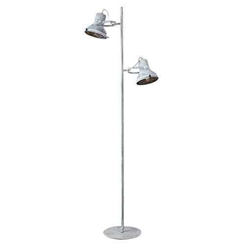 Staande lamp H172 cm Materiaal: ijzer grijs geveegd metaal vloerlamp met 2 spots Hampton