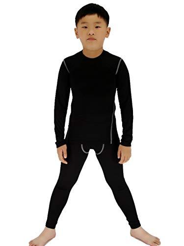 SANKE Boys Soccer Practice Long Sleeve Shirt & Pants 2PCS Compression Set, Black, 12