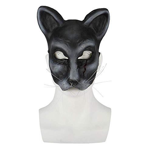 N/D Máscara De Terror De Media Cara De Gato Negro De Halloween, Accesorios Creativos para Fiestas De Bar, Accesorios De Cos para Fiestas De Disfraces.