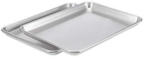 AmazonCommercial Aluminum Baking Sheet Pan, Jelly Roll Sheet, 15.1 x 10.6 Inch, Pack of 2