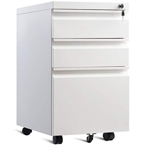 COSTWAY Rollcontainer mit 3 Schubladen, Büroschrank Metall, Aktenschrank abschließbar, Bürocontainer mit Kippschutzrad (Weiß)
