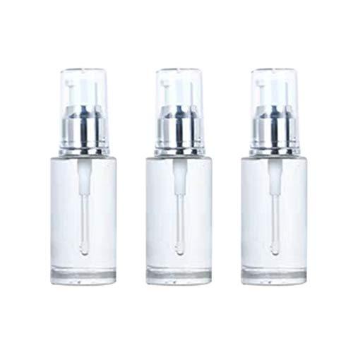 Hemoton 3Pcs Vide Mini Bouteille de Pompe en Verre Bouteille de Pompe de Distributeur de Parfum Essentiel de Parfum Rechargeable pour Le Voyage à La Maison 40Ml (Argent)