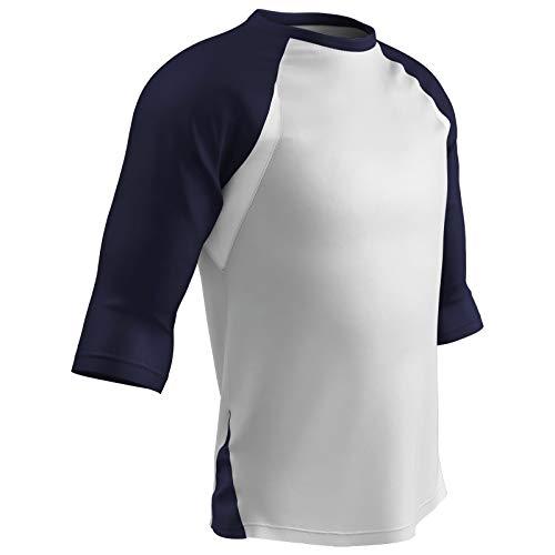 Champro Komplettes Spiel, Herren, Baseball-Shirt mit 3/4-Ärmeln, Polyester, Bs24awny2x, Weiss, marineblauer Ärmel, XX-Large