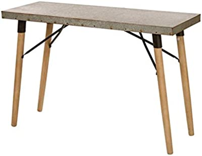 Wood Console Table with Wood Legs - Console Table with Nail Head Design - Gray