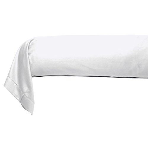 Tradition des Vosges Taie de traversin Satin Couture Jour Venise 86 x 185 cm Blanc