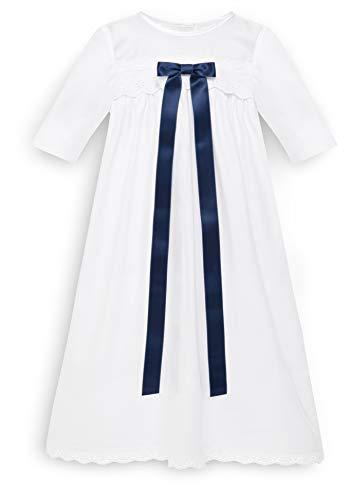 Bateo Design Robe de baptême pour bébé en coton avec nœud bleu - Blanc - 6 mois