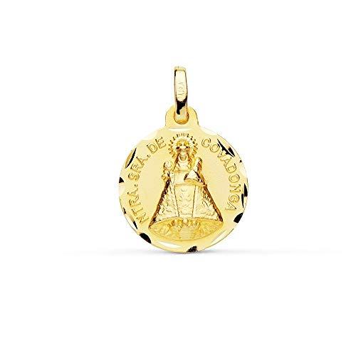Medalla Oro 9K Virgen De Covadonga 16mm. Redonda Lisa Borde Tallado