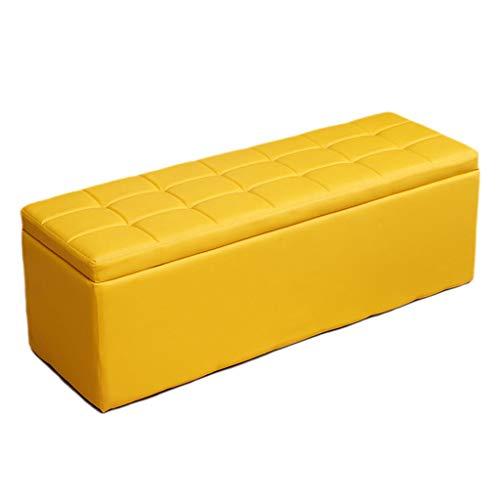 WZNING reposapiés otomano de almacenamiento, puffes a la moda, para sofá, banco de asiento, ahorro de espacio, carga máxima de 300 kg, taburete, múltiples tamaños/opciones de color (color: marrón, tamaño: 50 x 30 x 35 cm)