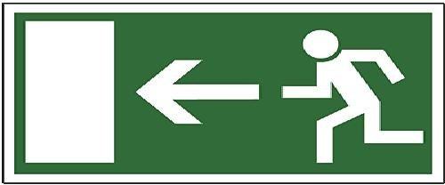 NoName 245185010 Rettungswegschild Kunststoff - Notausgang links, 297 x 148 mm, grün/weiß