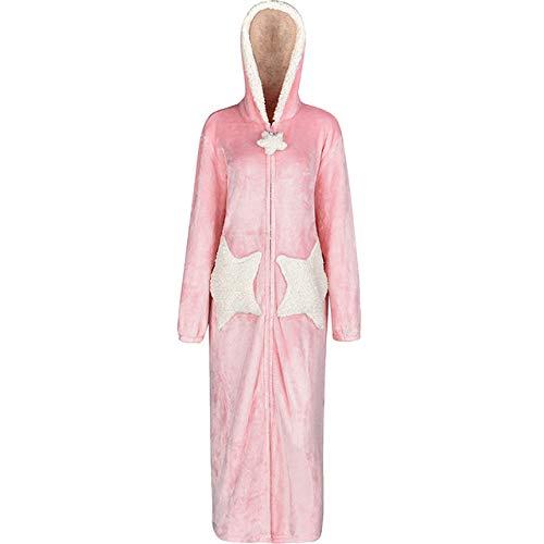 YRTHOR Hombres Mujeres Largo cálido Franela Gruesa Kimono Estrella Luna Albornoz, Bata de baño Azul Marino con Capucha Cremallera Ropa de Dormir Vestido de Noche Vestido,Hombres Pink Star,XL