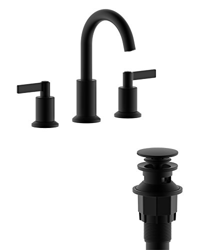 "Derengge LFS-0188-MT 8"" Two Handle Widespread Bathroom Sink Faucet with Pop up Drain, Meets UPC cUPC NSF AB1953 Lead Free, Matte Black"