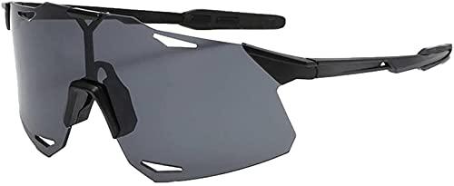 Litcom Gafas De Sol Deportivas Al Aire Libre Mujeres Hombres Polarizadas con Protección UV Montaña Gafas A Prueba De Arena para Montar (Black Frame Black Lens)
