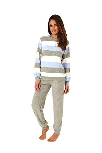 Creative by Normann Damen Frottee Pyjama lang mit Bündchen in Einer tollen Streifenoptik - 62054, Größe2:40/42, Farbe:blaumelange