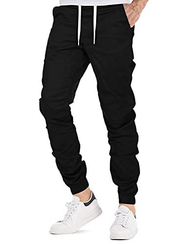 AitosuLa Herren Jogginghose Baumwolle Freizeithose Sport Slim Fit Trainingshose Sweatpants Jogger Pant, XL, Schwarz