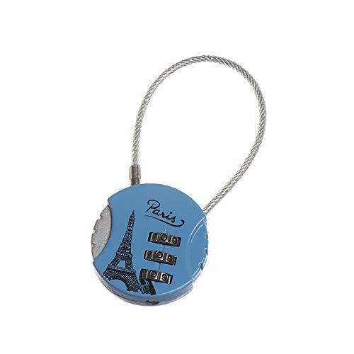 Resettable 3 Dial Digit Zinc aleación combinación contraseña candado código bloqueo para maleta equipaje viaje mochila equipaje, azul (Azul) - HA6990D