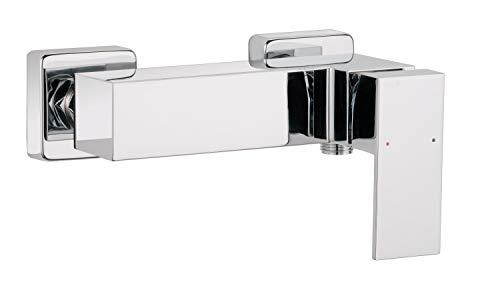 Calmwaters® - Modern Square 2 - Eckige Einhebel-Brausebatterie für Duschen mit Keramikkartusche zur Aufputz-Wandmontage - 11PZ2556