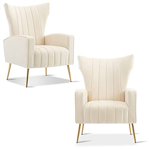 Velvet Accent Chair, KGOPK Wingback Arm Chair with Gold Legs, Upholstered Single Sofa for Living Room Bedroom, White