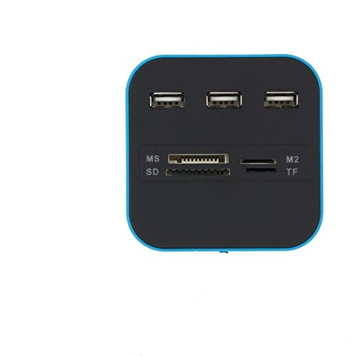HOUHOU USB Hub 3 Ports TF Micro SD Card Reader Slot USB Combo Multi All In One USB Splitter Cables For Laptop Macbook Usb C Hub (Color : Blue)