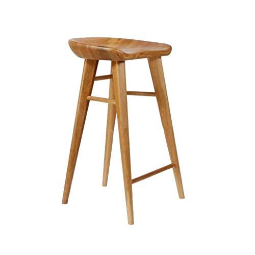DJ Keuken Bar kruk in massief hout Stabiele eetkamerstoel voor thuis Nordic hout bar stoel Eenvoudige casual Duurzame Hoge kruk bureaustoel Leren stoel Zithoogte 55/65 / 75CM Multifunctionele toilettafel Sitting 75cm high Geel