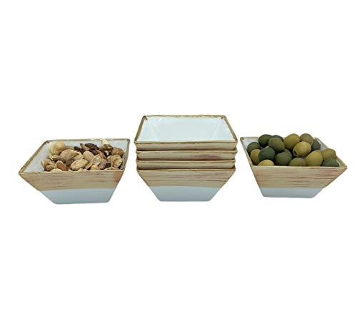 Cuenco Plato Aperitivo apilables cerámica Porcelana 6 piezas, Salsas, Postres, Recipiente estilo vintage pintado a mano 11 x 5.5 x 5.5 cm (250 ml) (Marrón Canela)
