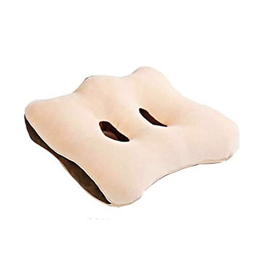 WHCQ Ischial Tuberosity Seat Cushion with Two Holes for Sitting Bones- Memory Foam Sit Bone Relief Cushion for Butt, Lower Back, Hamstrings, Hips,Beige