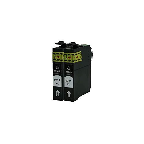 ZYL - 2 cartuchos de tinta negra compatibles con Epson T0715 T0711 BX3450 Stylus D120 Network Edition S20 S21 SX100 SX105 SX110 SX115 SX200 SX205 SX210 SX215 SX218 SX400 SX405 SX410 SX415 SX510W X600FW