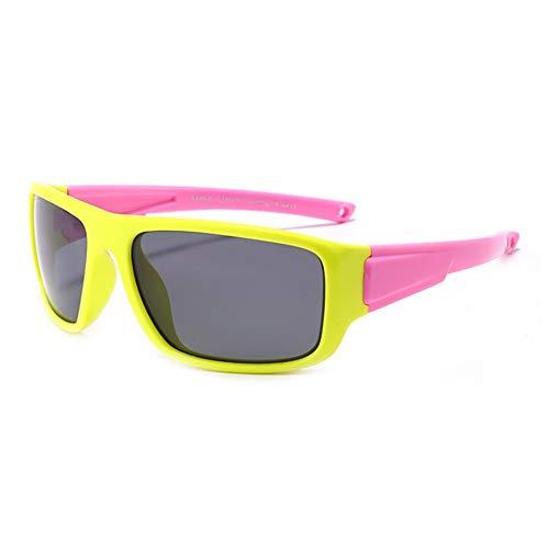 KB8190 Lunettes de soleil en silicone polarisées Ultralight Anti-UV Sunglasses Kids Boys Girls UV Proof Glasses - C2-Yellow Frame Pink Legs