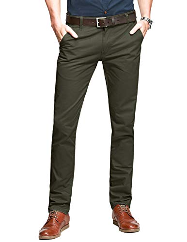 Match Mens Slim-Tapered Flat-Front Casual Pants(Light Army Green,30)