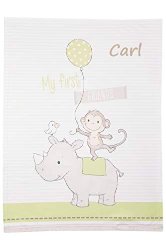 Wolimbo Soft-Peach Babydecke mit Wunsch-Namen und MY FIRST FRIENDS Motiv 75x100 cm - personalisierte/individuelle Geschenke für Babys und Kinder zur Geburt, Taufe und Geburtstag