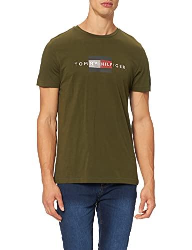 Tommy Hilfiger Lines Hilfiger tee Camiseta, Olivewood, XXL para Hombre