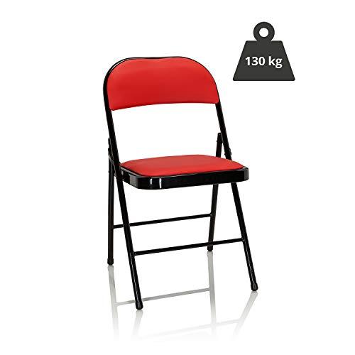 hjh OFFICE 803003 Klappstuhl gepolstert TUDELA Kunstleder Rot Besucherstuhl Faltstuhl klappbar, bis 130kg belastbar
