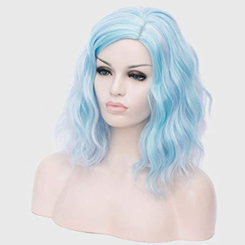 Vague profonde humide et ondulés Cheveux bouclés Perruques Mixte Densité pour femmes Dentelle Frontal avec bébé Violet Cheveux longs demi-mains liées,Bleu
