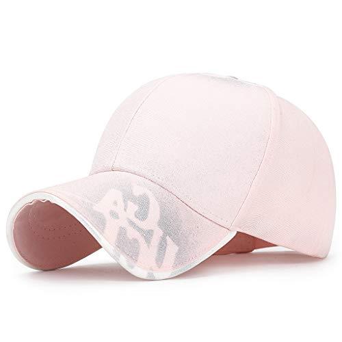 DOLDOA Hut Damen Sommer,Art- und Weiseunisexmilitärart-Flache Kappen-Weinlese-Baseballmütze-Sport-Sonnenhut (Rosa)