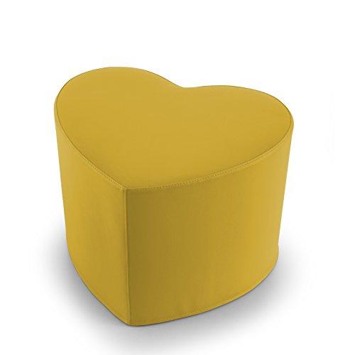 EXTOITALY Coeur Jaune Pouf en Cuir synthétique Adapté à séance mis.50 x 41 h.41 cm. Déhoussable Disponible en 10 Couleurs intérieur en polyuréthaneNome articolo (Titolo)