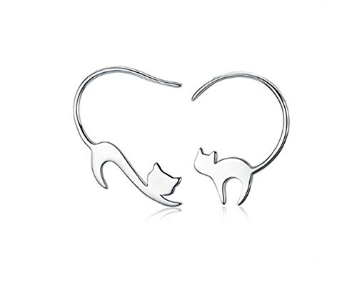 Hoveey Gato Pendientes, Pendientes de gancho para oreja con diseño de gatito travieso , Plata de Ley 925 Pendientes