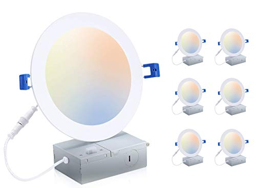 Cloudy Bay 6 inch 3000K/ 4000K/ 5000K Three Color Temperature Selectable, Dimmable 15W CRI90+, Ultra Thin LED Recessed Light with Junction Box, IC Rated, Air Tight, ETL/JA8, White, 6PK