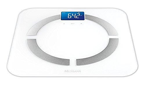 Medisana BS 430 Connect, balanza digital de análisis corporal 180 kg, balanza personal para la medición de grasa corporal, agua corporal, masa muscular y peso óseo con análisis corporal App