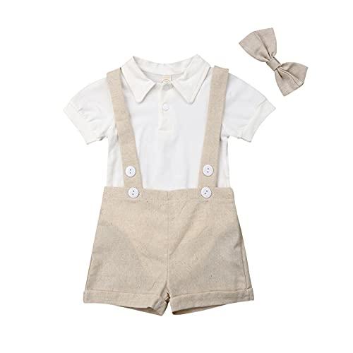 I3CKIZCE - Conjunto de peletas para bebé de 0 a 24 meses de verano, diseño informal con lazo y mariposa, color negro caqui 0-6 Meses