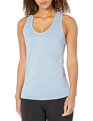 Amazon Brand - Core 10 Women's Seamless Mesh Workout Racerback Tank, Ice Blue, X-Large
