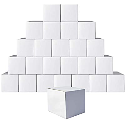 Calenzana 5x5x5 Inches Shipping Boxes Set of 25, Small Corrugated Cardboard Box for Mailing Packing, White