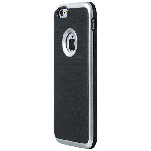 Ultratec Funda protectora de TPU / carcasa para iPhone 6 con diseño de contrastes y borde de color, negro/plata