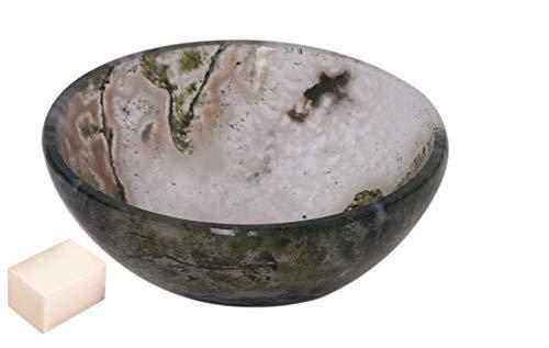 Piedra de ágata dendrítica tallada hecha a mano Cuenco de Feng Shui Generador de energía espiritual Reiki Healing Cristal Cargado 2 a 2.5 pulgadas Aproximadamente con Selenita Cube-Blessfull Healing