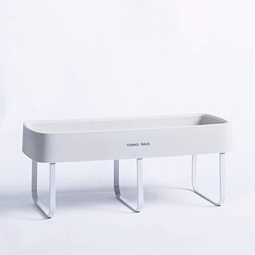 Toalla WTL Estante de Cocina Toallero de baño Perforación Libre Estante de Almacenamiento de baño Ventosa de baño Ventosa de baño Baño de baño (Color : White)
