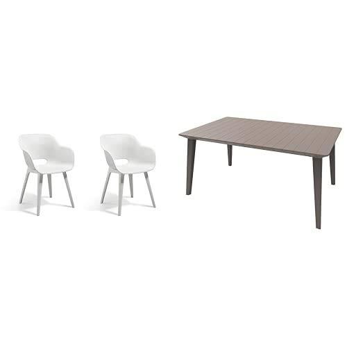 Allibert by Keter Akola Chair, White, 56.7 x 55.8 x 80.1 cm + Gartentisch Lima