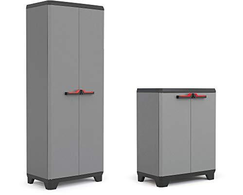 Ondis24 Kunststoffschrank Set, Haushaltsschrank & Beistellschrank Kombi, Büroschrank Set 136x39x173cm, Aktenschrank mit höhenverstellbaren Einlegeböden je 15kg belastbar