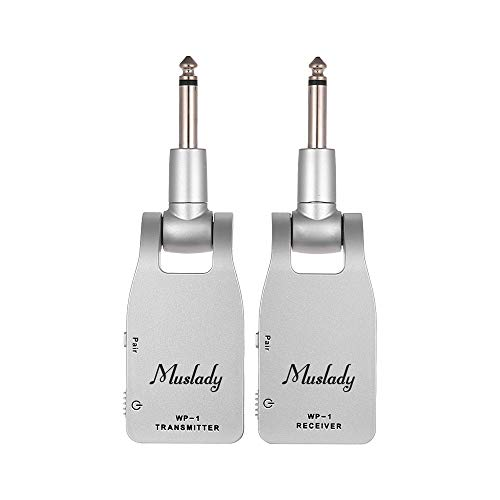 Muslady Guitar System Transmitter & Receiver 2.4G Wireless Built-in Rechargeable Lithium Battery 30M Transmission Range for Electric Guitar Bass...