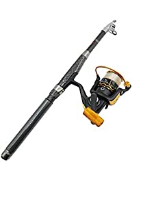 Richcat Fishing Rod and Reel Combos Ultra Short Pole Carbon Fiber Telescopic Fishing Rod with Metal Reel Fishing Line Already Spooled (5.9ft(1.8m))